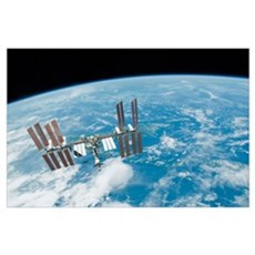 The International Space Station backdropped by Ear Poster