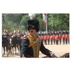 An officer shouts commands during the Trooping the Poster