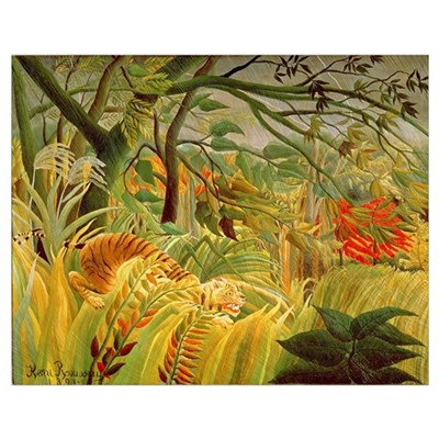 Tiger in a Tropical Storm (Surprised!) 1891 (oil o Poster