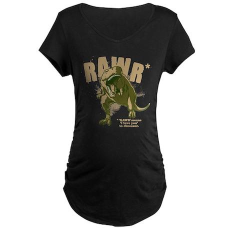 RAWR Dinosaur Maternity Dark T-Shirt