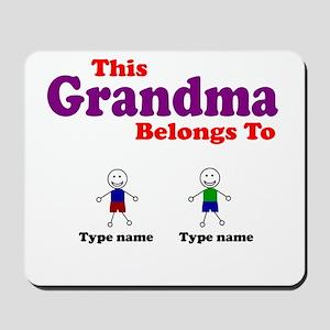 Personalized Grandma 2 boys Mousepad