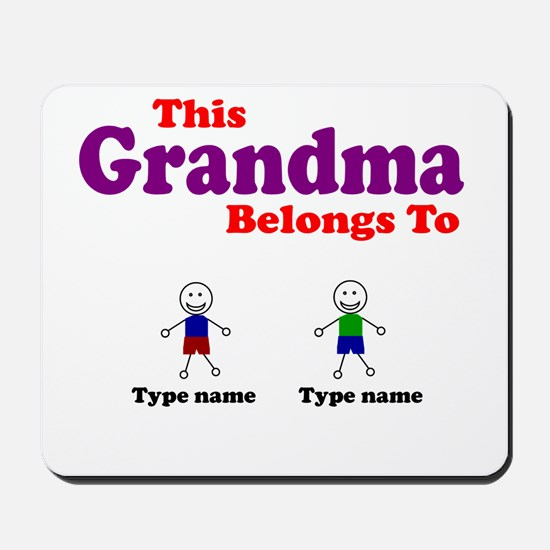 Personalized Grandma 2 boys Mousepad