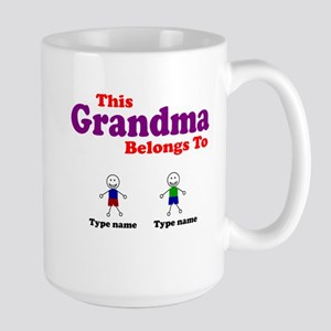 Personalized Grandma 2 boys Large Mug
