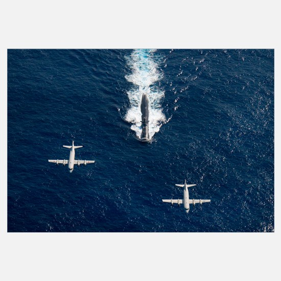 Two P 3 Orion maritime surveillance aircraft fly o
