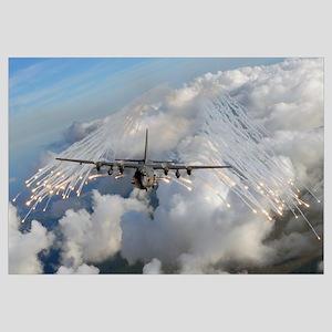 An AC 130U gunship jettisons flares over Florida
