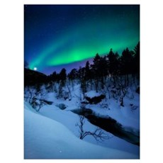 Aurora and a Full Moon over Tennevik River, Troms  Poster