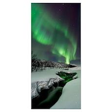 Aurora Borealis over Blafjellet River in Troms Cou Poster