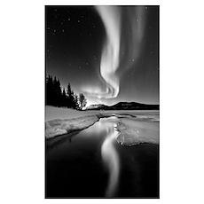 Aurora Borealis over Sandvannet Lake in Troms Coun Poster