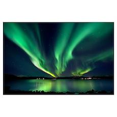 Aurora Borealis over Tjeldsundet in Troms County,  Poster