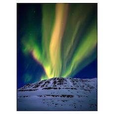 Aurora Borealis over Toviktinden Mountain in Troms Poster