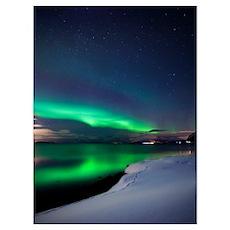 Aurora Borealis over Vagsfjorden in Troms County,  Poster