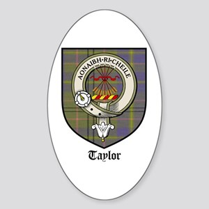 Taylor Clan Crest Tartan Oval Sticker