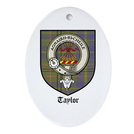 Taylor Clan Crest Tartan Oval Ornament