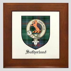 Sutherland Clan Crest Tartan Framed Tile