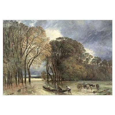 The Flood at Saint-Cloud, 1855 (oil on canvas) Framed Print