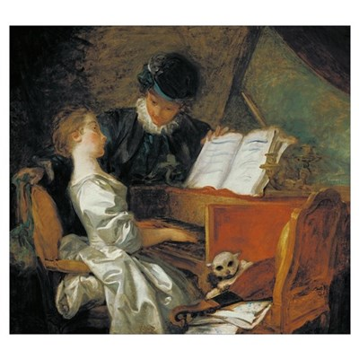 The Music Lesson (oil on canvas) Poster