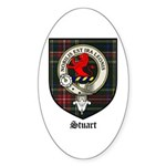 Stuart Clan Crest Tartan Oval Sticker
