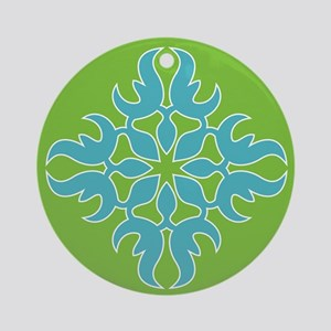 Blue Jade Tropical Quilt Square Round Ornament