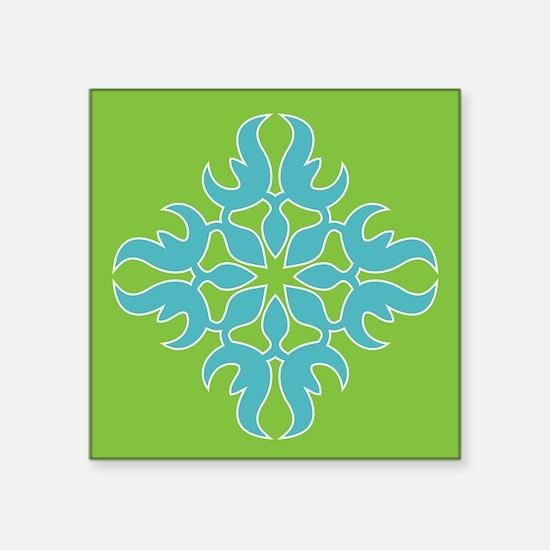 Blue Jade Tropical Quilt Square Sticker