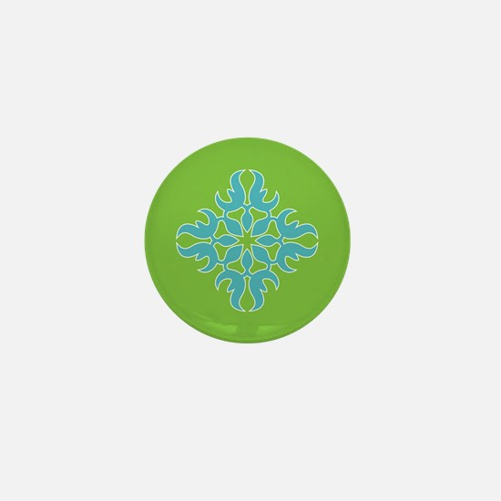 Blue Jade Tropical Quilt Square Mini Button