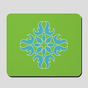 Blue Jade Tropical Quilt Square Mousepad