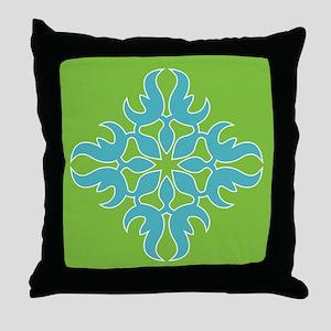 Blue Jade Tropical Quilt Square Throw Pillow