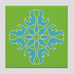 Blue Jade Tropical Quilt Square Tile Coaster