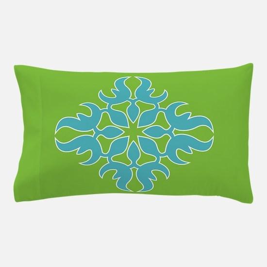 Blue Jade Tropical Quilt Square Pillow Case