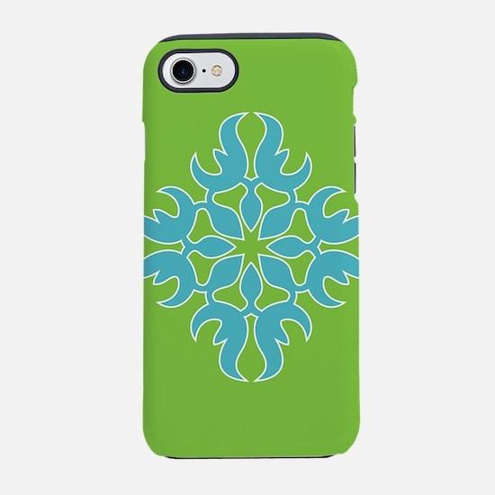 Blue Jade Tropical Quilt Square iPhone 7 Tough Cas