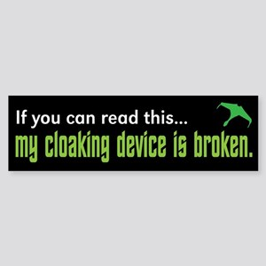 Star Trek Cloaking Device Bumper Sticker