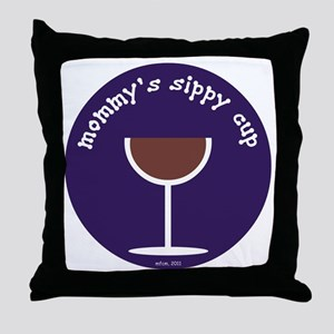 MOMMY'S SIPPY CUP (BLUE) Throw Pillow