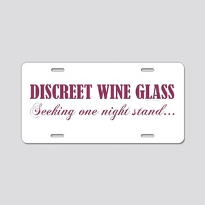 DISCREET WINE GLASS... Aluminum License Plate