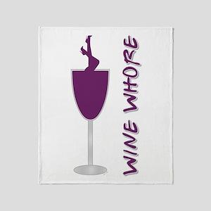 WINE WHORE PURPLE Throw Blanket