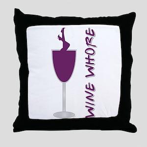 WINE WHORE PURPLE Throw Pillow
