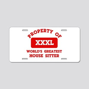 Property of House Sitting Aluminum License Plate