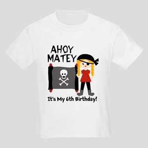 Blond Girl Pirate Custom Kids Light T-Shirt