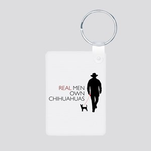 Real Men Own Chihuahuas Aluminum Photo Keychain