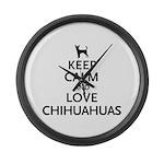 Keep Calm Chihuahuas Large Wall Clock