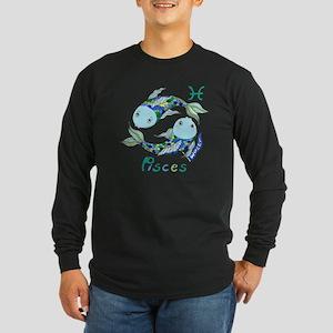 Astrology Zodiac Pisces Long Sleeve Dark T-Shirt