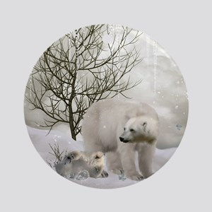 Awesome polar bear Round Ornament
