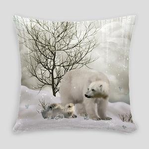 Awesome polar bear Everyday Pillow