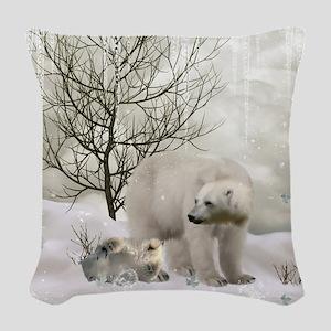 Awesome polar bear Woven Throw Pillow
