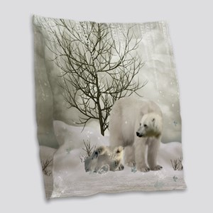 Awesome polar bear Burlap Throw Pillow