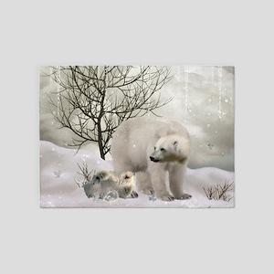 Awesome polar bear 5'x7'Area Rug