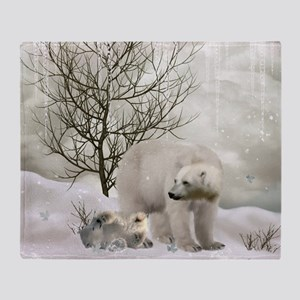 Awesome polar bear Throw Blanket