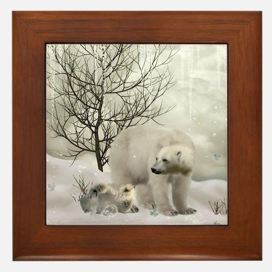 Awesome polar bear Framed Tile