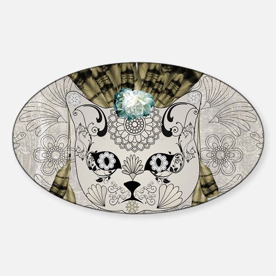 Wonderful sugar cat skull with feathers Decal