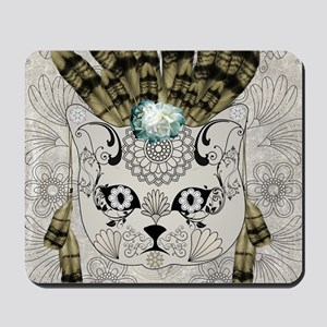 Wonderful sugar cat skull with feathers Mousepad
