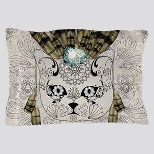 Wonderful sugar cat skull with feathers Pillow Cas