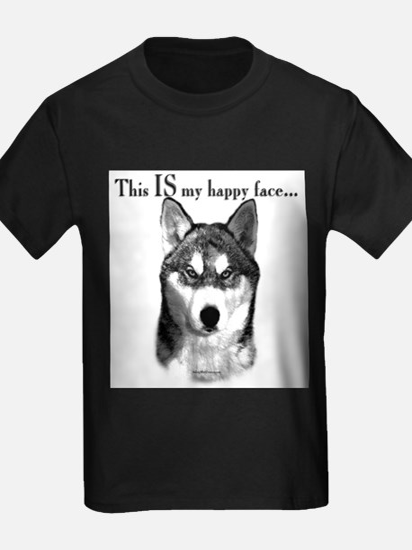 Husky Happy Face Ash Grey T-Shirt